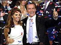 Arnold Schwarzenegger and his wife during victory speech