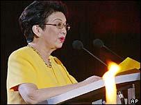 Former Philippine President Corazon Aquino, addressing crowd on eve of anniversary