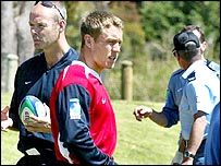 England boss Clive Woodward (left) and fly-half Jonny Wilkinson practise amid tight security