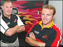Gwent Dragons coach Mike Ruddock with captain Andy Marinos