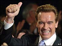 Arnold Schwarzenegger gives the thumbs-up