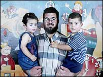 Raed Mesk with his two children