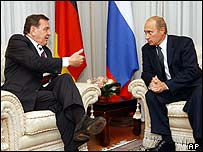Russian President Putin (right) with German Chancellor Schroeder