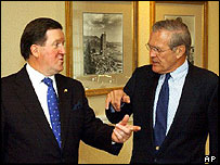 Nato Secretary General Lord Robertson (left) with US Defence Secretary Donald Rumsfeld