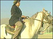 Member of women's horse-riding team