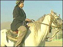 Member of women's horse-riding team