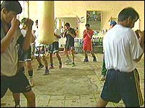 Afghan boxers in training