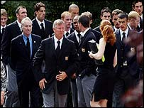 Sir Alex Ferguson among other mourners at the funeral of Jimmy Davis