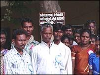 Veeramani (centre, grey hair) of the Irulars