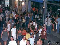 Tourists at night in Faliraki