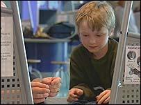 Boy with exhibit