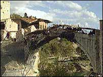The destroyed Mostar bridge