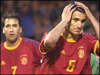 Spain's Raul and Helguera