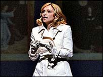 Madonna in raincoat