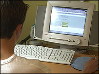 Adolescent at a computer