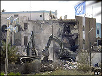 The shell of the UN HQ in Baghdad after August's blast