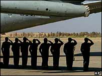 Members of the Brazilian Air force salute as Sergio Vieira de Mello's coffin is loaded aboard a Brazilian presidential plane, Iraq