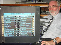 John Tidy with the 1985/85 football scoreboard