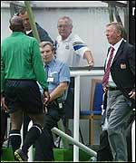 Sir Alex Ferguson was sent from the dug-out