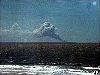 Smokes rises from the Alcantara site