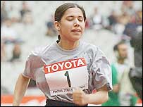 Lima Azimi in action during the 100m heats