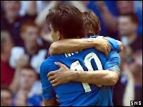 Michael Mols is congratulated on his first goal
