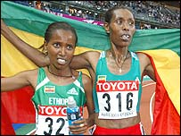 Werknesh Kidane (left) finishes second to fellow Ethiopian Berhane Kidane