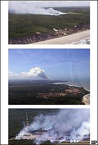 Serie de fotografías aéreas de la base de Alcántara tras la explosión.