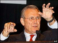 US Defence Secretary Donald Rumsfeld gestures at a Nato meeting