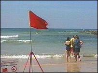 Red flag on Godrevy beach