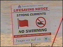 Warning sign on Godrevy beach