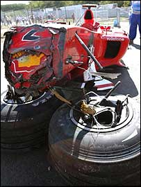 Rubens Barrichello's Ferrari is badly damaged after a 180mph crash