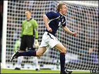 Darren Fletcher celebrates his first Scotland goal