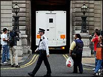A prison van takes Hade Soleimanpour away from court on Friday 22 August