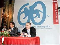 Venice press conference with event director Moritz de Hadeln