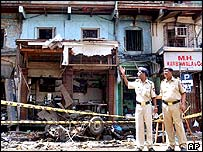 Indian police guard bomb site in Bombay