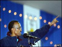Rwanda President Paul Kagame addresses supporters