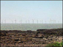 Artists impression of the turbines at Scarweather Sands