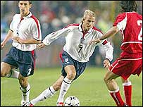 David Beckham playing for England against Turkey