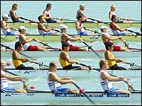 GB men's eight team (bottom) were in fine form