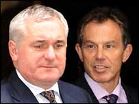 Irish Premier Bertie Ahern and Prime Minister Tony Blair