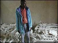 Rwanda genocide survivor, and caretaker, Emmanuel Murangira at a genocide memorial
