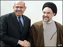 IAEA chief Mohamed ElBaradei (left) and Iranian President Mohammed Khatami