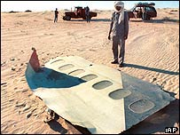 Wreckage of UTA DC10 blown up over Niger in 1989 (archive)