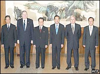 Delegate heads (left to right): Japan's Mitoji Yabunaka, USA's James Kelly, North Korea's Kim Yong-Il, China's Wang Yi, Russia's Alexander Loshkov, South Korea's Lee Soo-Hyuck