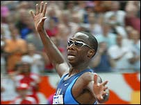 Jerome Young celebrates victory in the 400m