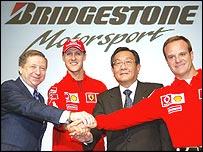 Ferrari sporting director Jean Todt, Michael Schumacher, Bridgestone president Shigeo Watanabe and Rubens Barrichello