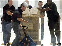 Ten commandment monument being moved