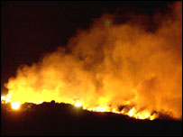 Pyre burning during foot-and-mouth crisis