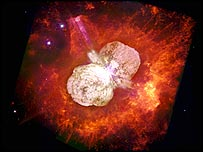Eta Carinae star (courtesy: N Smith, U. Colorado, J Morse, Arizona State U, and Nasa)